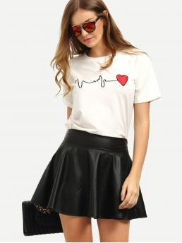 Casual Regular Fit Round Neck Short Sleeve White Heart Embroidery Tee