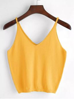 Casual Plain Slim Fit Spaghetti Strap and V neck Yellow Crop Length V Neck Knit Cami Top