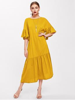 Casual Tunic Plain Shift Round Neck Half Sleeve Flounce Sleeve Drop Waist Yellow and Bright Long Length Trumpet Sleeve Tiered Hem Dress