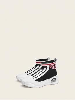 Ladies Toddler Girls Striped High Top Knit Trainers