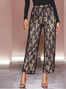 Glamorous Floral Wide Leg Loose Elastic Waist High Waist Multicolor Long Length Floral Lace Overlay Wide Leg Pants with Lining