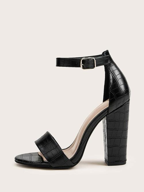 Black Strappy Sandals High Heel Chunky Croc Embossed Heels Fashion