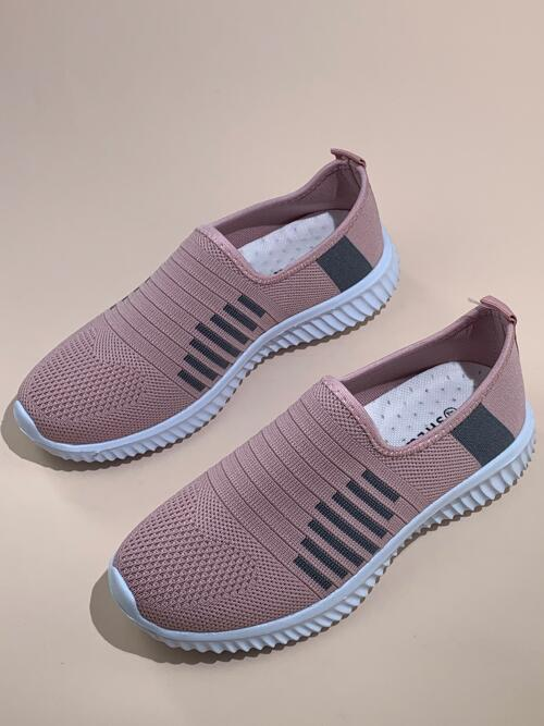 Womens Pink Running Shoes Platform Low-top Wide Fit Slip on Sneakers
