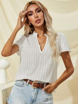 Short Sleeve Top Eyelet Embroidery Schiffy Neck Blouse Clearance