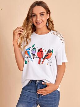 Beautiful Short Sleeve Contrast Lace Polyester Animal Bird Print Guipure Lace Insert Tee