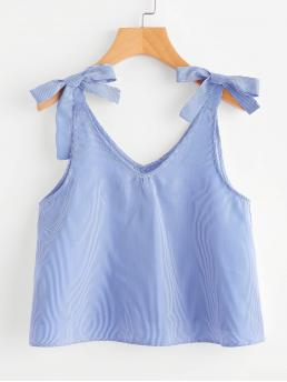 Casual Cami Striped Regular Fit V neck Blue Crop Length Vertical Pinstriped Bow Detail Tank Top