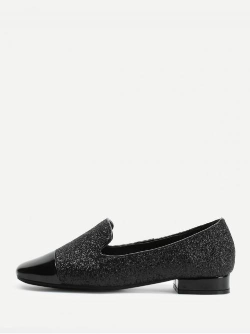 Corduroy Black Loafers Buckle Square Toe Glitter Loafer Dress Shoes Clearance