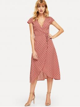 Casual Polka Dot Wrap Loose V neck Cap Sleeve Regular Sleeve Natural Pink Long Length Surplice Neck Knot Dot Dress