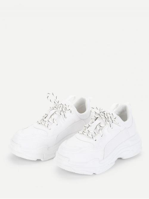 Trending now Corduroy White Chunky Trainers Hollow Topstitch Sneakers