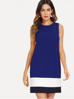 Blue Colorblock Wrap Round Neck Dress Clearance