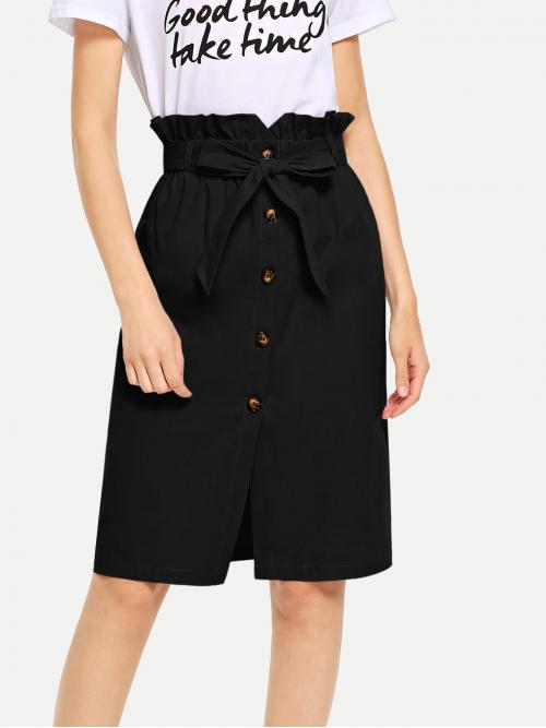 Discount Black High Waist Belted Straight Waist Button Ruffle Split