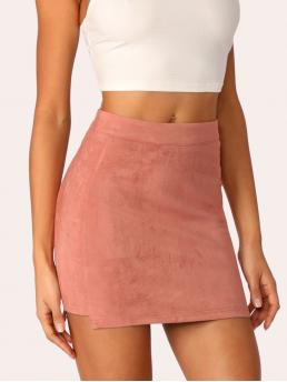 Coral Pink Natural Waist Zipper Bodycon Stepped Side Skirt Shopping