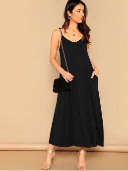 Casual Cami Plain Straight Loose Spaghetti Strap Sleeveless Natural Black Maxi Length Pocket Patched Swing Cami Dress