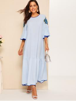 Boho Tunic Floral Straight Loose Round Neck Half Sleeve Flounce Sleeve Natural Blue Maxi Length Embroidery Contrast Binding Maxi Dress