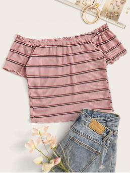 Casual Striped Slim Fit Off the Shoulder Short Sleeve Regular Sleeve Pullovers Pink and Pastel Regular Length Rib-Knit Striped Lettuce Trim Crop Top