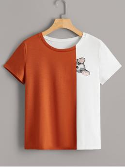 Casual Animal and Colorblock Regular Fit Round Neck Short Sleeve Pullovers Multicolor Regular Length Cut And Sew Panel Dog Print Tee