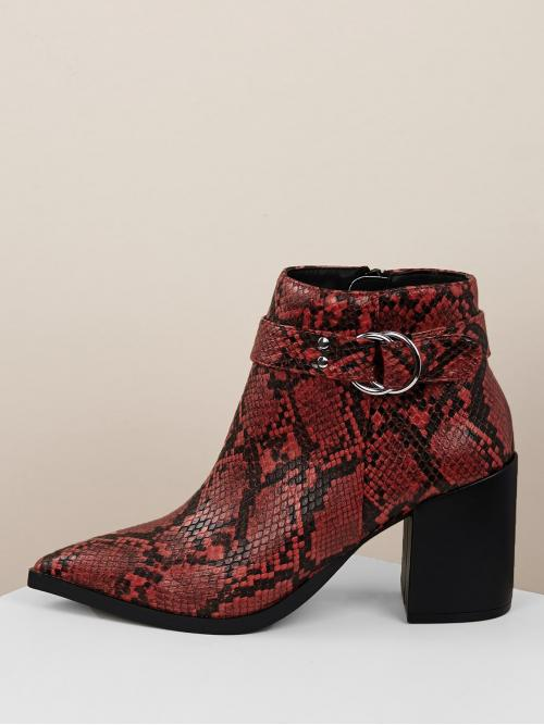 Glamorous Other Point Toe Snakeskin Print Side zipper Red High Heel Chunky Buckled Snakeskin Pointy Toe Chunky Heel Booties