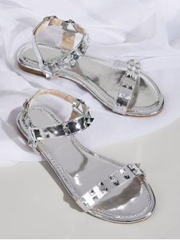 Glamorous Open Toe Plain Slingbacks Silver Metallic Studded Decor Ankle Strap Flat Sandals