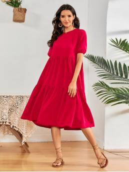 Neon Plain Button Round Neck Red Slant Pocket Dress Clearance