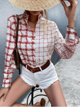 Clearance Long Sleeve Shirt Button Front Polyester Plaid & Button up Blouse