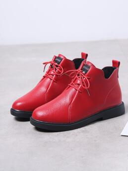 Clearance Red Leather Tpr Pu Leather Emery Rose Minimalist Front Booties