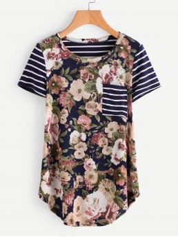 Casual Striped and Floral Regular Fit Round Neck Short Sleeve Multicolor Large Floral Striped Cut & Sew Curved Hem Tee