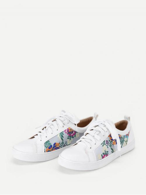 Corduroy Multicolor Skate Shoes Embroidery Flower Trainers Pretty