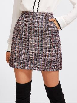 Elegant A Line Plaid High Waist Multicolor Above Knee/Short Length Zip Back Tweed Skirt with Lining