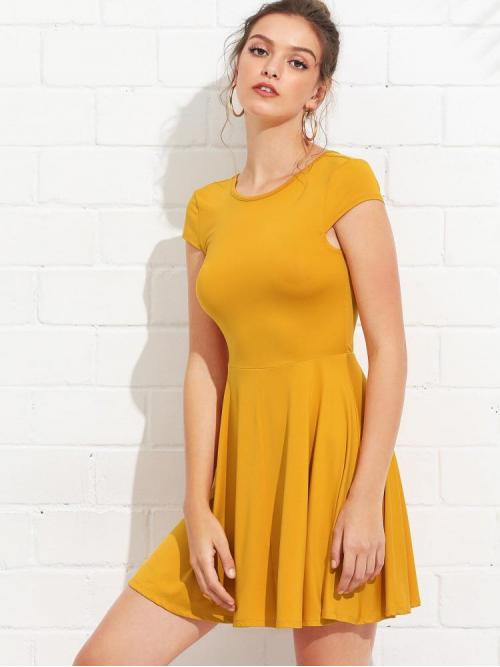Womens Yellow Plain Belted Round Neck Open Back Fit & Dress