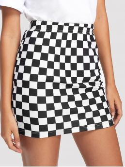 Discount Black and White Natural Waist Tiered Layer Bodycon Skirt