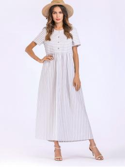 Casual Striped Round Neck Short Sleeve Natural Grey Maxi Length Striped Button Dress