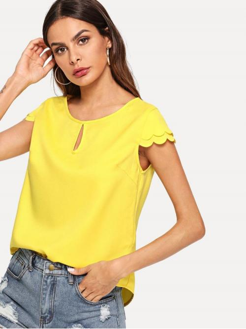 Clearance Cap Sleeve Top Scallop Polyester Keyhole Front Layereded Sleeve Top