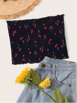 Boho Fruit&Vegetable Slim Fit Strapless Navy Crop Length Cherry Print Shirred Bandeau Top