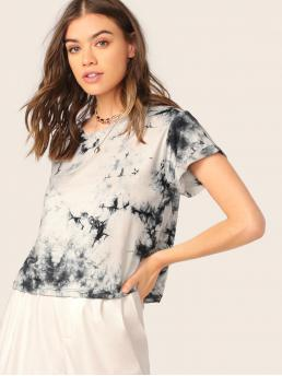 Casual Tie Dye Regular Fit Round Neck Short Sleeve Roll Up Sleeve Pullovers Black and White Regular Length Crew Neck Short Sleeve Tie Dye Jersey T-Shirt