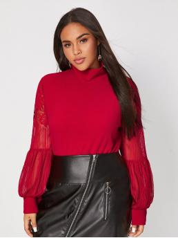 Elegant Plain Regular Fit High Neck Long Sleeve Red and Bright Regular Length Plus High Neck Lace Bishop Sleeve Top