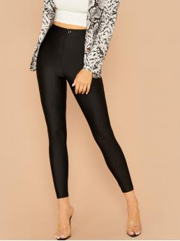 Casual Regular Plain Black Cropped Length Button Detail Skinny Pants