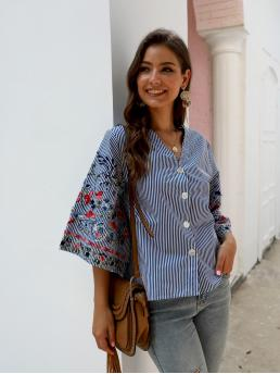 Casual Striped and Floral Shirt Regular Fit V neck Three Quarter Length Sleeve Regular Sleeve Placket Blue Regular Length Striped Floral Embroidered Button Front Blouse