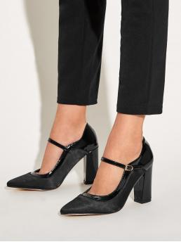 Glamorous Plain Mary Jane Black High Heel Chunky Point Toe Ankle Strap Chunky Heels