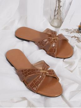Comfort Crocodile Brown Open Toe Croc Embossed Sliders