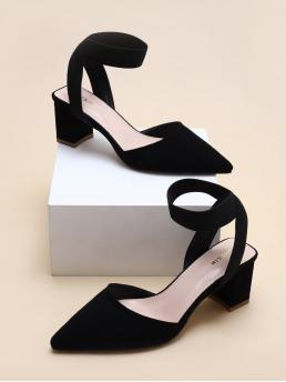 Women's Black Mid Heel Chunky Point Toe High Heel Pumps