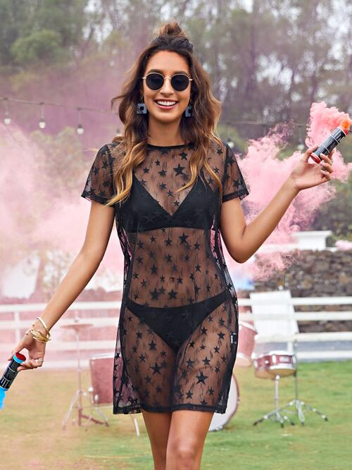 Black Galaxy Sheer Round Neck Dress Without Lingerie Set Pretty