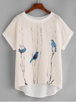 Casual Animal and Plants Top Oversized Round Neck Short Sleeve Multicolor Regular Length Graphic Print Dip Hem Chiffon Top