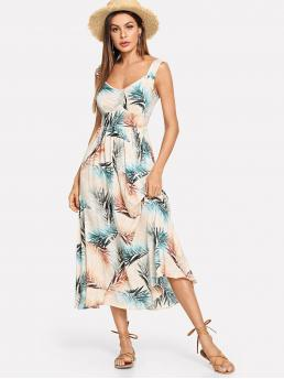 Discount Multicolor Tropical Backless Straps Palm Leaf Print Fit & Flare Dress