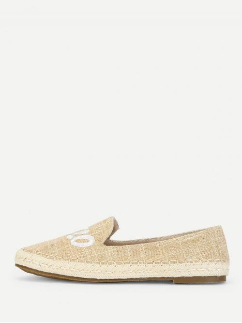 Corduroy Apricot Loafers Embroidery Espadrille Flats Beautiful