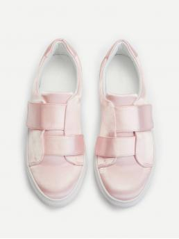 Round Toe Pink Velcro Detail Low Top Sneakers