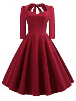Pretty Burgundy Plain Lace up Sweetheart 50s Bow Tie Back Circle Dress