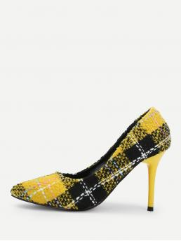 Court Point Toe Plaid Multicolor Stiletto Tweed Stiletto Heels