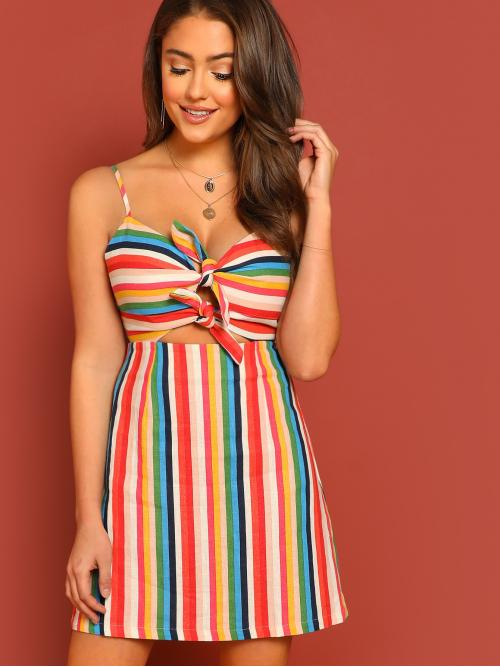 Multicolor Striped Knot Spaghetti Strap Front Cut out and Tie Detail Rainbow Stripe Dress Trending now