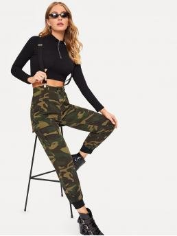 Sporty Camo Cargo Pants Regular Button Fly High Waist Multicolor Cropped Length Camo Print Pocket Side Pants With Straps