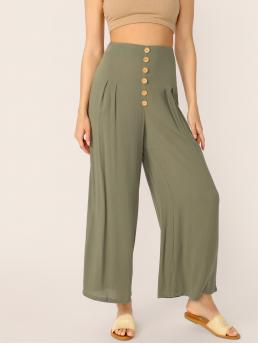 Boho Plain Wide Leg Regular Zipper Fly High Waist Green Long Length Buttoned Wide Waistband Crepe Palazzo Pants